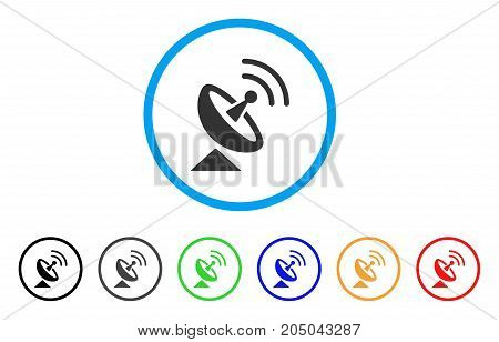 Radio Telescope rounded icon. Style is a flat radio telescope grey symbol inside light blue circle with black, gray, green, blue, red, orange versions. Vector designed for web and software interfaces.