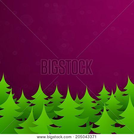 Bright green christmas tree forest. Vector illustration
