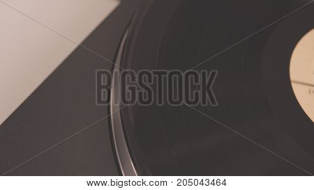 Vinyl Record On The Player Close-up. Analof Sound In Nowadays.