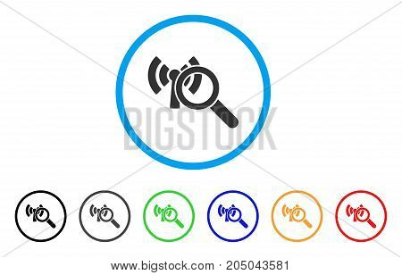 Search Wi-Fi Network rounded icon. Style is a flat search wi-fi network grey symbol inside light blue circle with black, gray, green, blue, red, orange color versions.