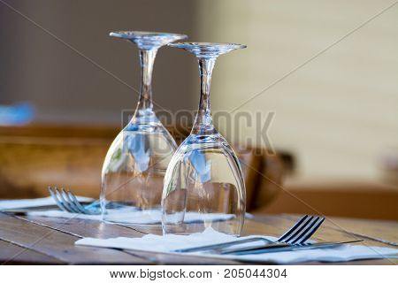 Empty Wine Glasses On The Table Served For Lunch, Dinner In Cafe, Restaurant Outside Or On Terrase