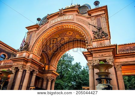 COPENHAGEN, DENMARK - JULY 20: Tivoli gardens, a famous amusement park and pleasure garden in Copenhagen, Denmark