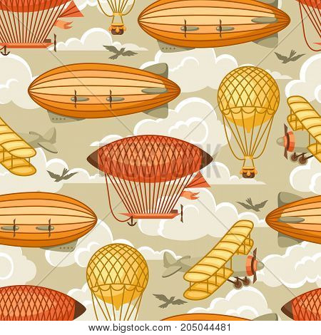Seamless pattern with retro air transport. Vintage aerostat airship, blimp and plain in cloudy sky.