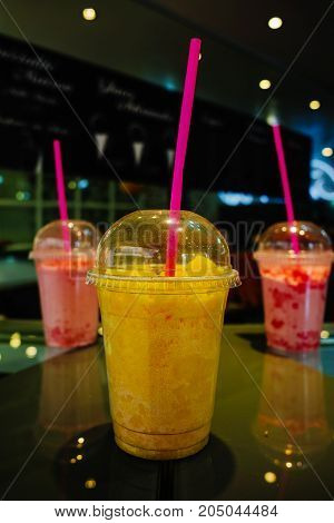 Summer Food, Cold  Icy Frozen Granita Slushy Served In Street Cafe