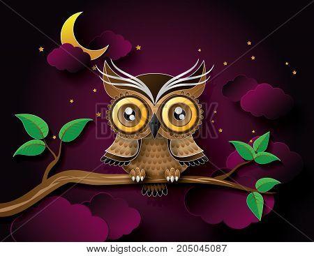 vector of owl hang on the tree wih moon.