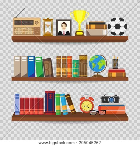 Book shelf. Bookstore indoor. Bookshelves with different books set. Home library interior. Reading and learning knowledge and education.isolated on transparent background. Vector illustration.
