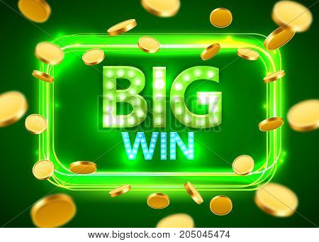 Big win. Shining Retro Banner with Flying Coins. Casino concept. Vector illustration