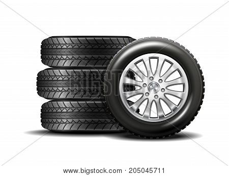 Stacked car wheels. Four black rubber tires on a white background. Vector illustration