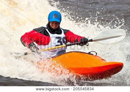 Kayak freestyle on whitewater, Russia, Msta, may 2010