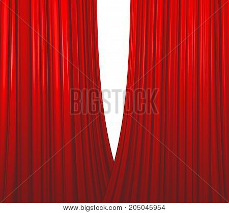 Illuminated red curtain opening on white background