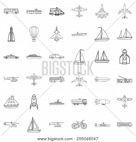 Concrete mixer icons set. Outline style of 36 concrete mixer vector icons for web isolated on white background