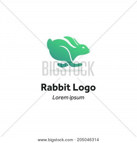 modern brand, silhouette of a hare in motion, a rabbit running