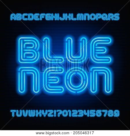 Blue neon tube alphabet font. Neon color letters and numbers. Stock vector typeface for your headers or any typography design.