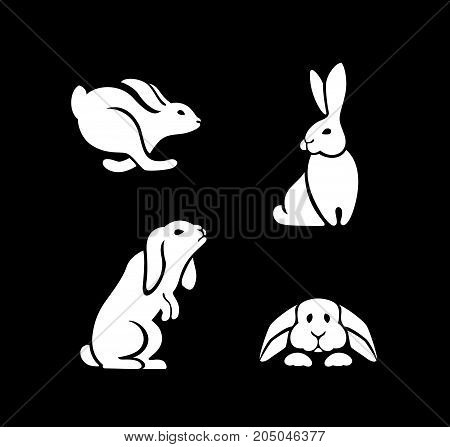 icons rabbits, logo hare sitting, running, jumping, standing on hind legs, snuggled to the floor