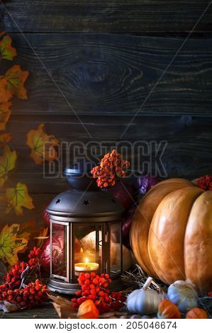 Wooden table, decorated with vegetables, pumpkins and autumn leaves. Autumn background. Happy Thanksgiving Day background.