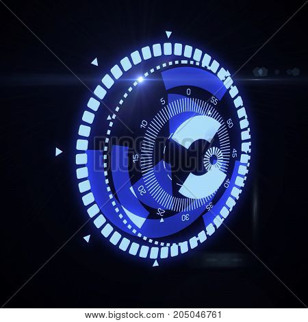Futuristic HUD Target UX UI Interface. Graphic for tech title and background, news headline business concept. 3d illustration