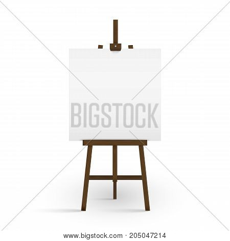 Blank canvas on a artist' easel. Blank art board and wooden easel isolated on white background. Vector illustration. Eps 10.