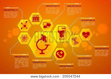 Medical background poster with heart health and science symbols flat vector illustration