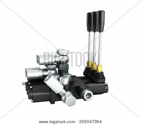 The Concept Of A Hydraulic Distributor On The Right 3D Render On A White Background No Shadow