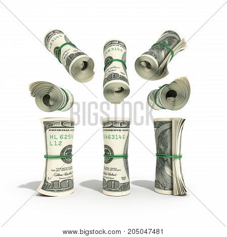 Money Hundred Dollars Bill Rol Colection 3D Render On White