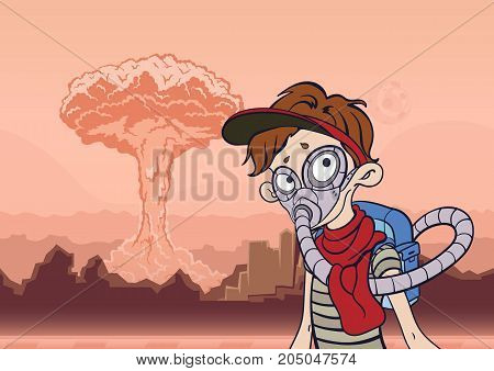 Young Man in gas mask on a background of barren landscape and a nuclear explosion. Post apocalyptic concept. Vector illustration.
