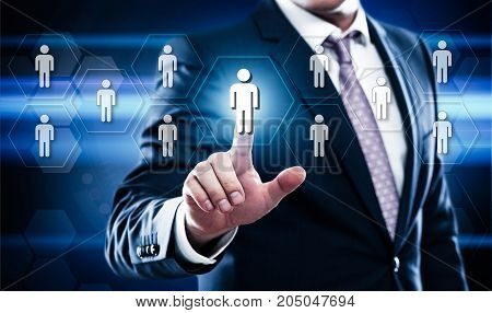 business technology internet concept. human resources on virtual screen.