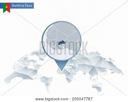 Abstract Rounded World Map With Pinned Detailed Burkina Faso Map.