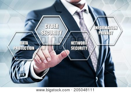 Business, technology, internet concept on hexagons and transparent honeycomb background. Businessman  pressing button on touch screen interface and select  cyber security