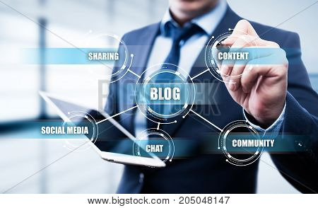 Blog Blogging Social Media Network Business Internet Technology Concept.