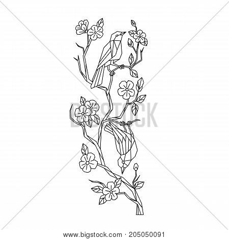 Low polygon style illustration of Japanese white-eye birds on branch of sakura cherry blossoms tree on isolated background done in black and white.