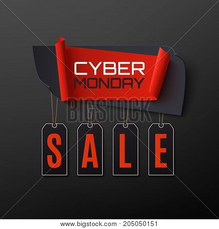 Cyber Monday Sale. Abstract banner on black background. Design template for brochure, poster or flyer. Vector illustration.