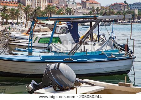 Scenic picture of a white yacht on the adriatic sea dalmatian coast in Split Croatia