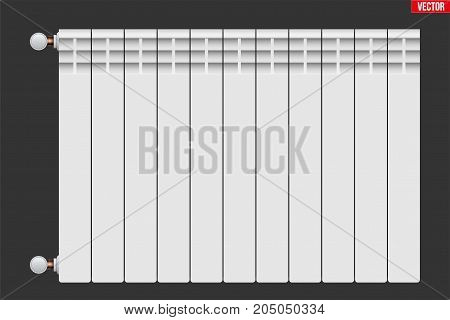 Metal Heating radiator. Central heating system equipment. Water and steam model for wall. Vector Illustration