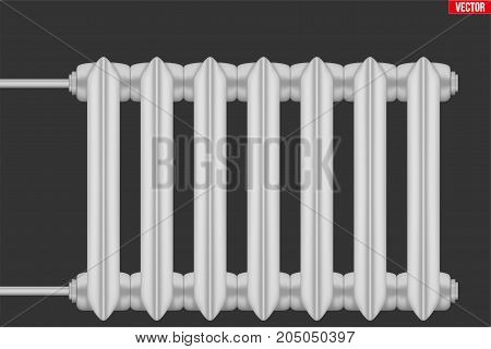 Vintage Metal Heating radiator. Central heating system equipment. Water and steam model for wall. Vector Illustration