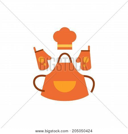 Icon of baker clothing. Chef hat, apron, gloves. Bakery concept. Can be used for topics like household, chef, housewife