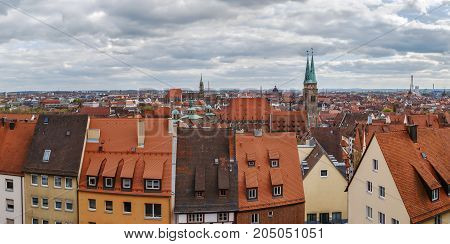 Panoramic view of Nuremberg historic center from castle wall Germany
