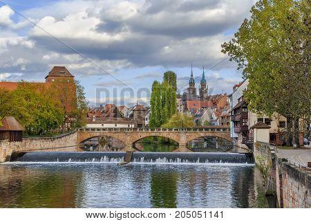 Max bridge (Maxbrucke) in Nuremberg city center Germany