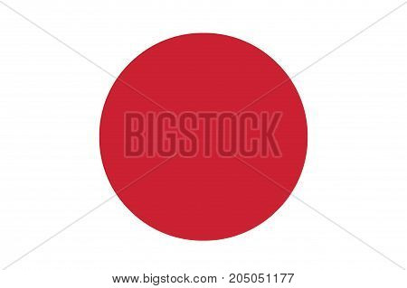 The national flag of Japan which is a crimson red disc on a white background which represents the sun
