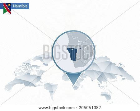 Abstract Rounded World Map With Pinned Detailed Namibia Map.