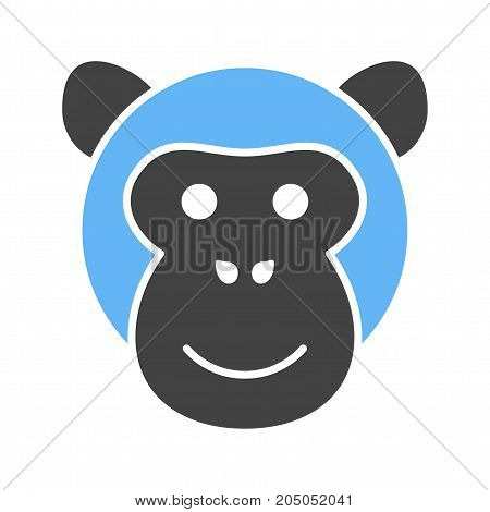 Gorilla, face, ape icon vector image. Can also be used for Animal Faces. Suitable for use on web apps, mobile apps and print media.