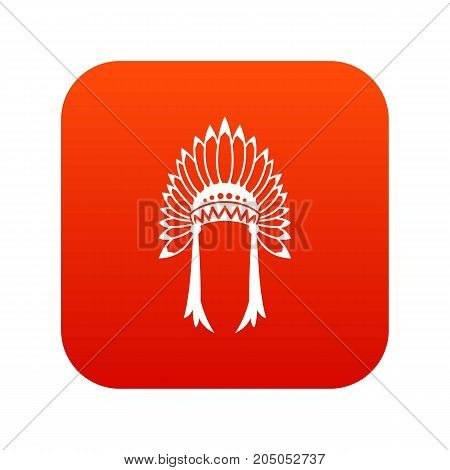 Indian headdress icon digital red for any design isolated on white vector illustration