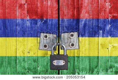 Mauritius flag on door with padlock close