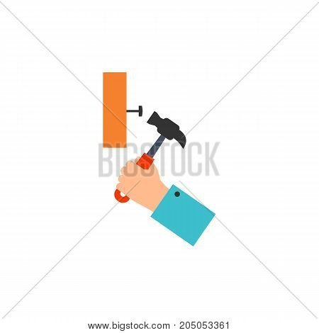 Icon of man hammering nail. Repair, hand tool, working. Performing apartments concept. Can be used for topics like home improvement, housework, mens work