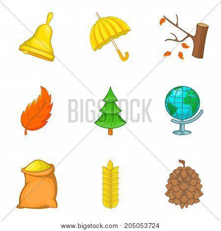 Defoliation icons set. Cartoon set of 9 defoliation vector icons for web isolated on white background