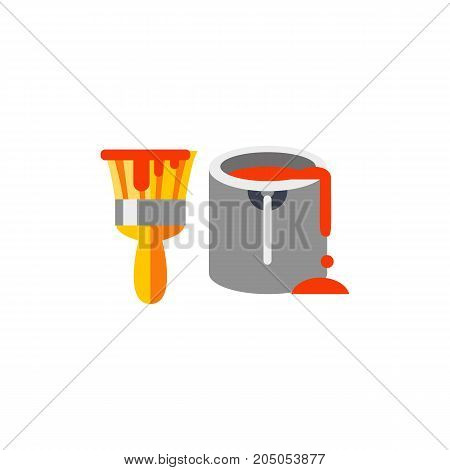 Icon of paint can and brush. Home improvement, diy, remodeling. Performing apartments concept. Can be used for topics like skill, decorating, painting