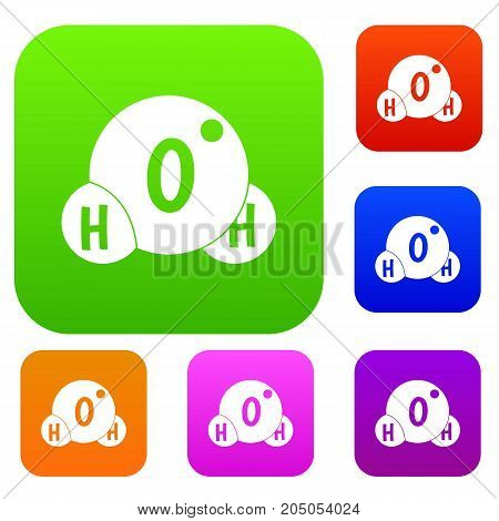 Water molecule set icon color in flat style isolated on white. Collection sings vector illustration