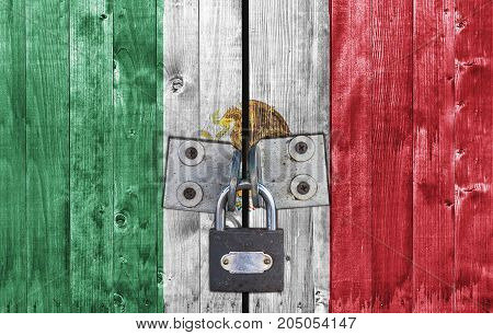 Mexico flag on door with padlock close
