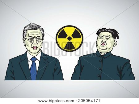 Moon Jae-in VS Kim Jong-un. Caricature Portrait Vector Illustration. September 21, 2017