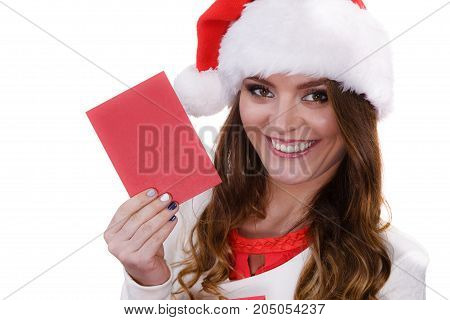 Woman In Santa Claus Hat Reading Letter