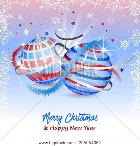Merry Christmas And Happy New Year Greeting Card With Snowflakes, Stars, Ribbons, Baubles And Confet